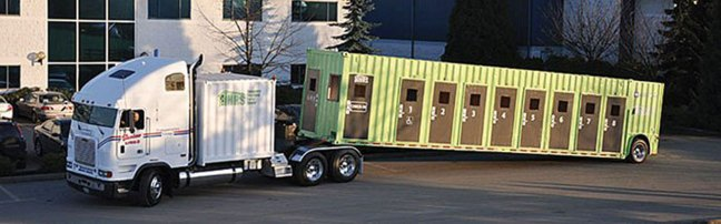 This photo of a shipping container converted into temporary shelter was published in the the Campbell River Mirror in September 2013. Campbell River used this converted container as a temporary emergency shelter. (photo: Campbell River Mirror)