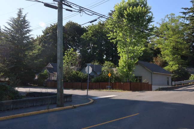 The intersection of White Road and Jubilee Street in Duncan, BC. This is the only vehicle and pedestrian access to White Road.