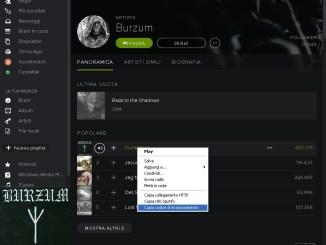 Spotify esportare la canzone codice
