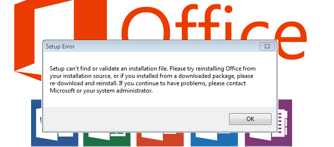 Setup cant find or validate an installation file office