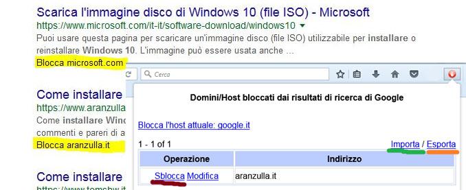 Blocca i siti su google con personal blocklist per firefox