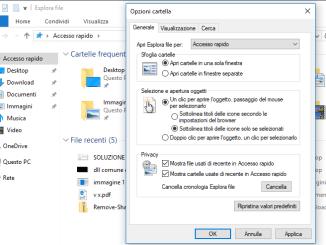 Come aprire i file e le cartelle con un solo clic in windows 10