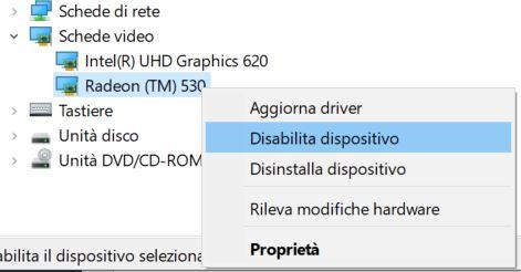 Scheda video disabilita dispositivo