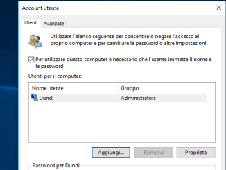 Come rimuovere la password daccesso in windows 10