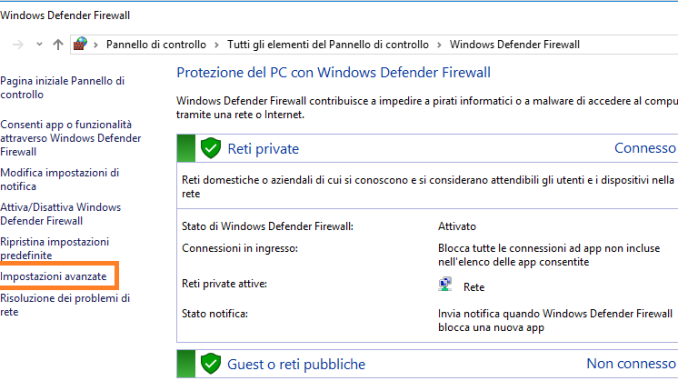 Windows firewall impostazioni avanzate