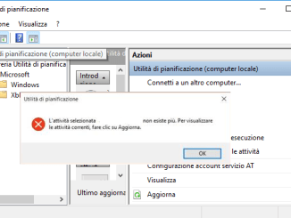 Windows attivita selezionata x non esiste piu