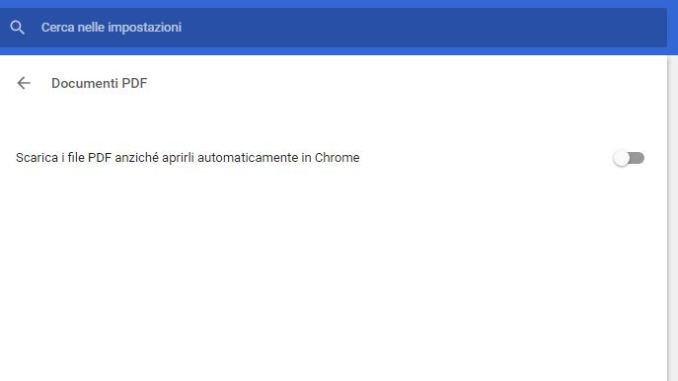 Disabilitare apertura file pdf chrome