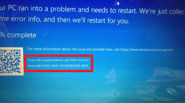 Errore page fault in nonpaged area in windows
