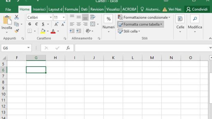 Excel si sposta tutto il foglio come risolvere