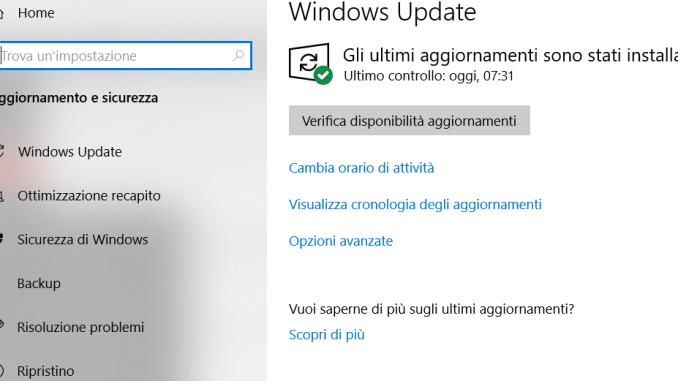 Errore 0x8e5e0147 durante aggiornamento di windows 10