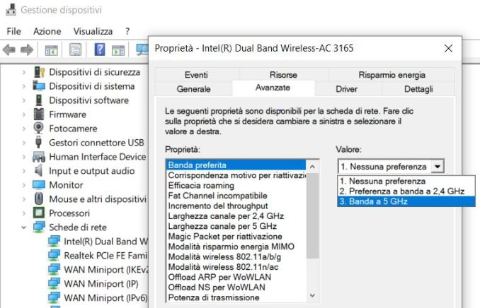 Come impostare banda a 5 ghz in windows 10