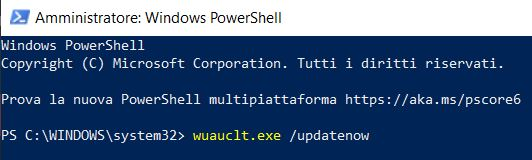 Aggiornare windows da powershell