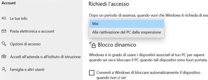 Rimuovere la password alla riattivazione di windows 10 dalle importazioni