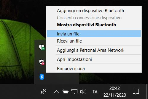 Trasferire i file via bluetooth manualmente
