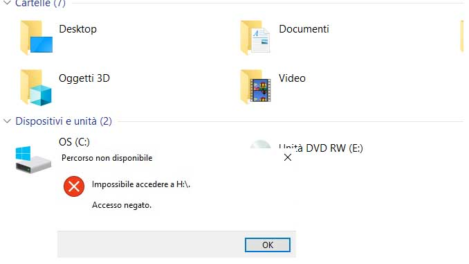 Windows 10 impossibile accedere al disco c accesso negato