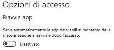 Impedire a windows 10 di ri eseguire le app dopo un riavvio