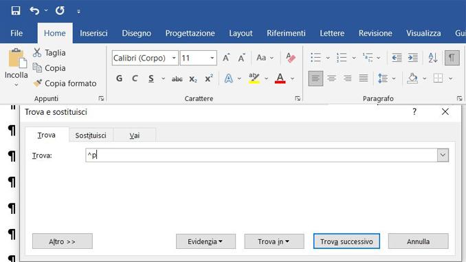 Come eliminare le linee vuote da un documento word