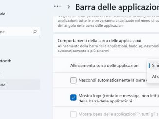 Windows 11 spostare la barra delle applicazioni dal centro a sinistra