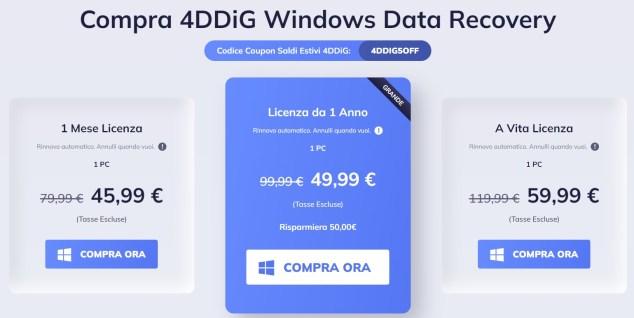 4ddig windows data recovery prezzo