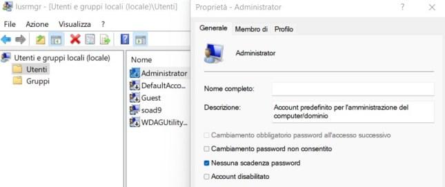 Windows 11 abilitare account amministratore