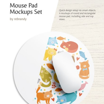 Mouse Pad Set Product Mockup