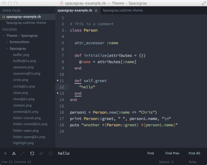 space gray sublime text theme