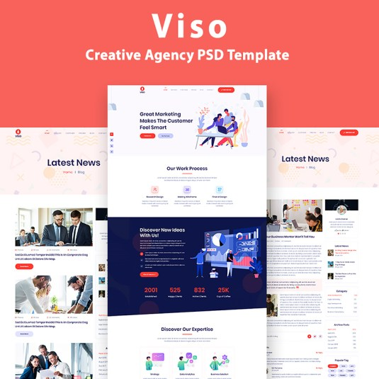 VISO - One Page Creative Agency PSD Template