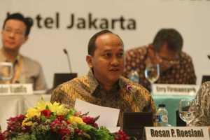 Rosan Perkasa Roeslani dalam RUPSLB BRAU di Jakarta 7 Maret 2013.