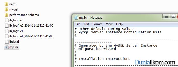 Tutorial Belajar MySQL - Lokasi file my.ini