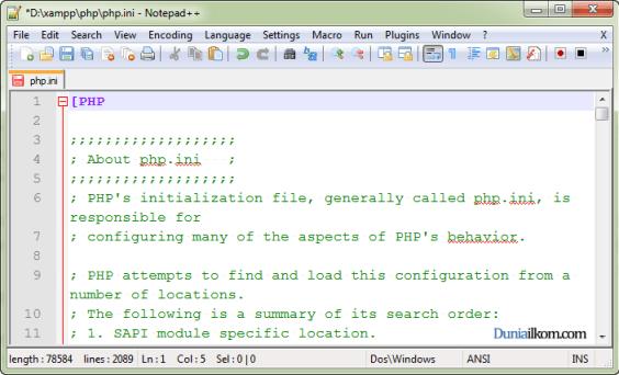 Cara Mengubah File Konfigurasi php.ini - Merubah php.ini