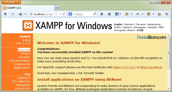 Cara Menjalankan Apache di XAMPP - XAMPP 1.8.3 Sukses Berjalan
