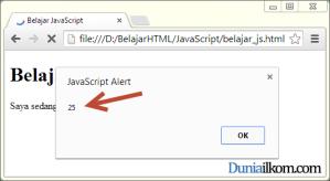 Contoh Cara Menampilkan Hasil JavaScript - fungsi alert