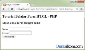 Tampilan Error di halaman Form menggunakan fungsi header