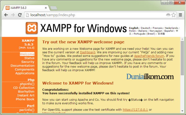 Cara Menginstall XAMPP di Windows - Localhost Sukses diinstall
