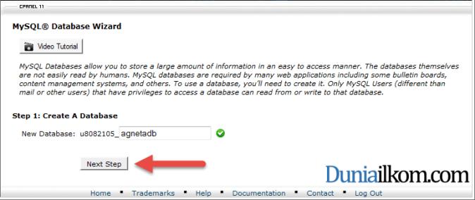 Membuat nama database dari cPanel