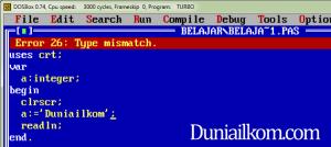 Kode Error Pascal - Error 26 - Type mismatch