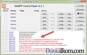 Pesan Error dari XAMPP - Problem detected