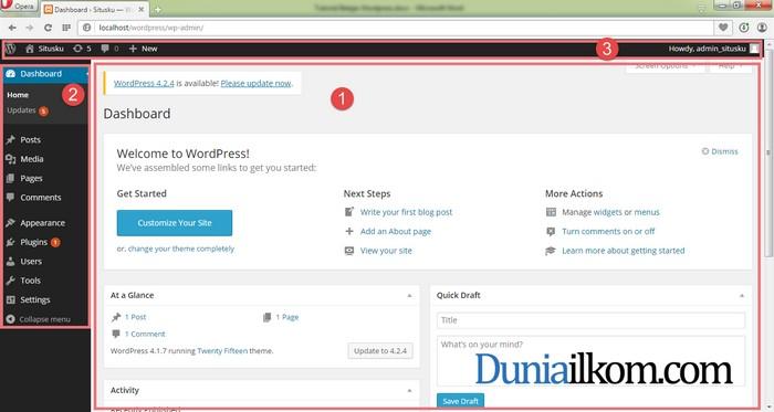 Tampilan Halaman Dashboard WordPress