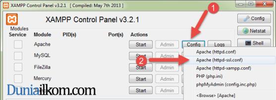 Klik tombol config pada apache untuk membuka httpd-ssl.conf