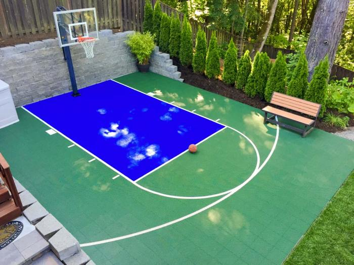 A DunkStar basketball court installed in a backyard