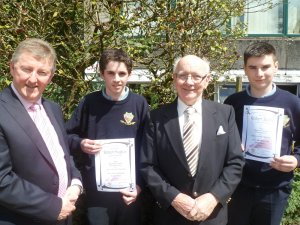 Nominees for the Declan Joyce Excellence in Woodwork Award , Robert Hughes and Robert Burke are pictured with Sean Canney Minister of State and Paddy Joyce.