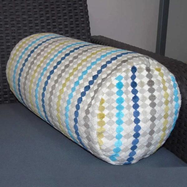 Blue multi fabric streamer effect pattern cylinder bolster cushion