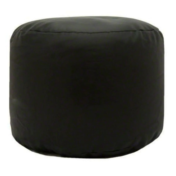 black faux leather large round pouffe