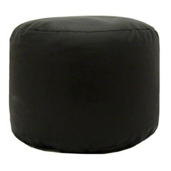 black faux leather large round pouffe