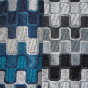 blue black geometric pattern fabric to order