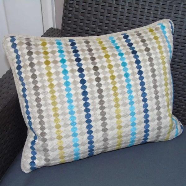 blue grey yellow multi fabric streamer pattern cushions