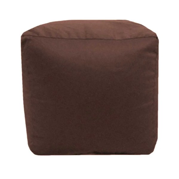 brown cotton drill cube fabric footstool pouffe