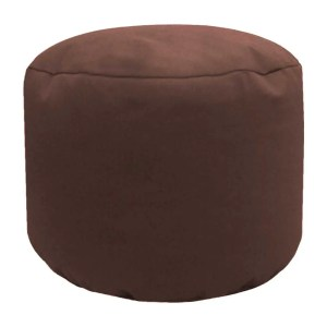 brown cotton drill round footstool pouffe