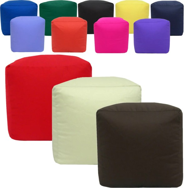 cotton drill cube fabric foot stool pouffe
